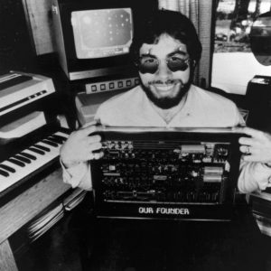 Woz with an Apple 1 Board