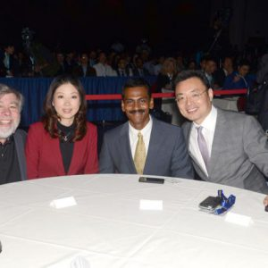 Woz, Iris Lei, Jay Vijayan (Tesla CIO), and Xu Ming (a financial businessman)